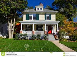 single family house prairie style home autumn fall stock image