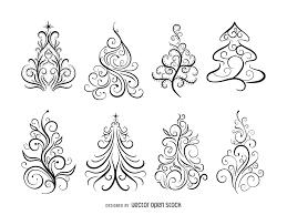 swirl ornamental christmas trees vector download