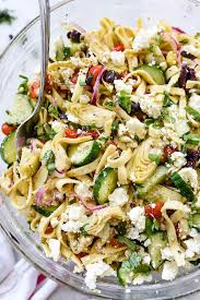 greek pasta salad with cucumbers u0026 artichoke hearts foodiecrush com