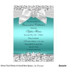 silver teal glitter u0026 jewel bow quinceanera card quinceanera