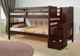 Bedroom  Beautiful Wood Low Bunk Bed With Ladder For Kids Solid - Ebay bunk beds for kids