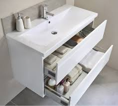 utopia qube 800mm wall hung 2 drawer reduced unit with ceramic basin