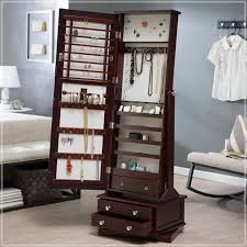 standing mirrored jewelry armoire express air modern home
