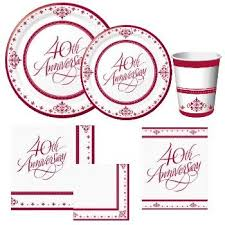 40th anniversary plates 40th anniversary paper plates and napkins party at lewis