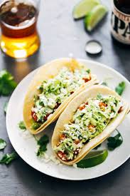 spicy shrimp tacos with garlic cilantro lime slaw recipe pinch