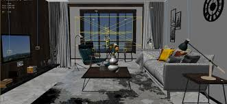 panorama scandinavian style living room restaurant space 19 3d