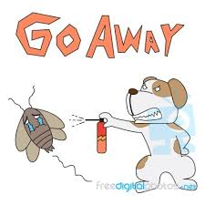 cartoon character dog drive cockroach stock image royalty