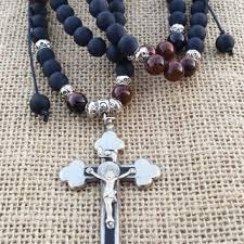 men s religious jewelry fleur de lis picture jasper black matte from bohemianchicbead