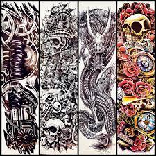 skull flower design big arm sleeve for