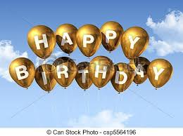 stock illustration of gold happy birthday balloons in the sky 3d