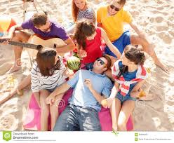 of happy friends on stock photo image