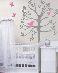 vinyl wall decals spring tree with birds and butterflies