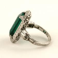 deco emerald diamond and platinum ring