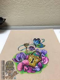 lnztattoos drawing for drawing butterfly lock key