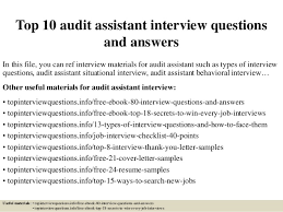 Auditor Job Description Resume by Top 10 Audit Assistant Interview Questions And Answers 1 638 Jpg Cb U003d1427788337
