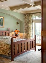 Arts And Craft Bedroom Furniture Master Bedroom With Morris Designed Pattern On Spread And Drapery