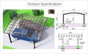 Aluminum Carport Awnings Garage Port For 2 Cars Sunshield Outdoor Polycarbonate Carports