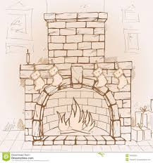 drawn christmas fireplace pencil and in color drawn christmas