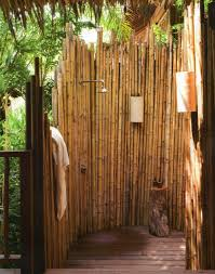 tropical bathroom ideas with ceiling bamboo accessories relaxing outdoor bathroom shower with bamboo accessories