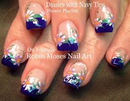 white daisy on navy blue nails cute flower nail art design