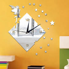 diy 3d star wall clock europe acrylic mirror sticker clock