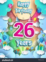 26 years birthday celebration design greeting stock vector