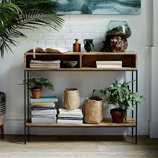 west elm entry table industrial storage open skinny console raw mango industrial