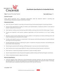 Resume Sample Kindergarten Teacher by Preschool Aide Job Description Resume