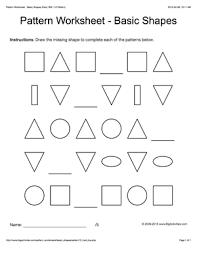 shape pattern year 2 pattern worksheets for kids black white basic shapes 1 2