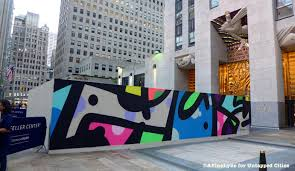 modern mural street art murals go up at nyc u0027s rockefeller center to replace