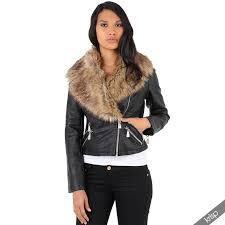 us womens detachable fur collar cropped leather jacket fitted