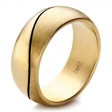 wedding band for custom yellow gold brushed and polished men s wedding band 100582