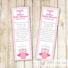 owl bookmark favor baby shower pink u2013 pink the cat