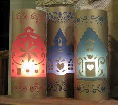 project center folk art house lanterns