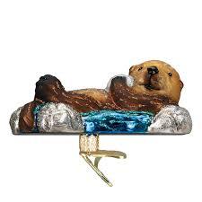 world ornaments floating sea otter 12506