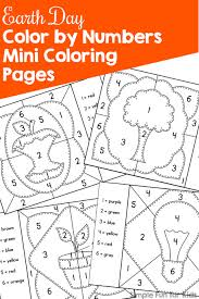 earth color numbers mini coloring pages simple fun kids