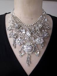 bib necklace rhinestone images Vintage rhinestone necklace wedding jewelry empress wedding jpg