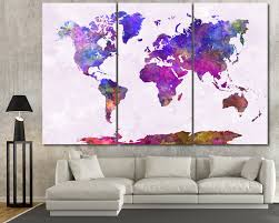 World Map Canvas Purle Watercolor World Map Canvas At Texelprintart Com