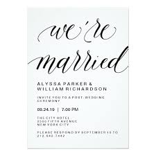 wedding ceremony card simple typography post wedding ceremony card zazzle