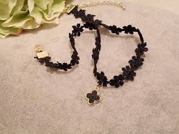 clover leaf necklace images Wholesale choker necklace new design black nylon lace necklace jpg