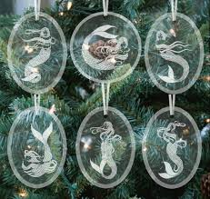 etched beveled glass ornament set of six marshmallow mermaid
