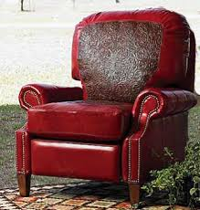Western Moments Original Home Furnishings And Decor Red Tooled Leather Recliner Western Furniture Rustic Home Decor