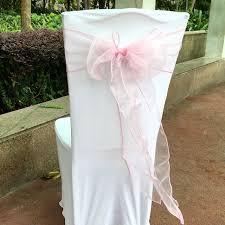 Pink Chair Sashes 100 Pcs Lot Light Pink Color Organza Sash Chair Sashes Bands Bow