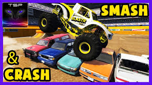 monster truck crash videos youtube beamng drive monster truck smashing crushing and crashing on