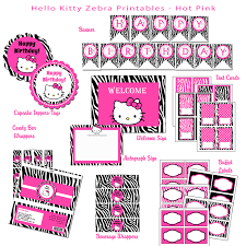 Hello Kitty Birthday Invitation Card Hello Kitty Hybrid Printable Birthday Party Package Zebra Pink