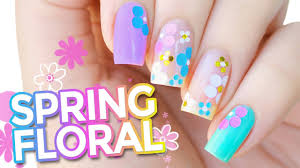 pastel spring floral confetti nail art encapsulated glitter