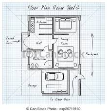 Sketch Floor Plan Clip Art Vector Of Floor Plan House Sketch Technical Construction