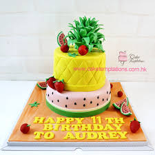 3d 2 tiers fruit design cake