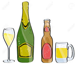 champagne clipart glass and bottle of champagne and beer isolated on white royalty