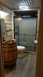 top 25 best cabin bathrooms ideas on pinterest country style barn tin bathroom that sink though